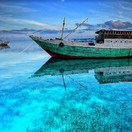 Boat in Blues by Ina Herliana Koswara - Transportation Boats ( water, blue, waterscape, wakatobi, boat )