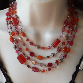 Glass Bead Necklace by Janet Skoyles - Artistic Objects Jewelry
