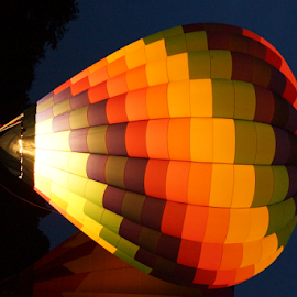Hot air balloon by Cassandra Gwan - Transportation Other ( flight, hot air balloon, night, transportation, balloon,  )