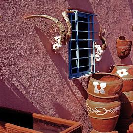 SHOP SANTA FE POTTERY  by Walter Carlson - City,  Street & Park  Markets & Shops ( skull, stucko, red, pottery, pots )