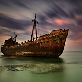 ---------- by Dimitrios Lamprou - Transportation Boats ( gytheio, sunset, long exposure, boat, abandoned )