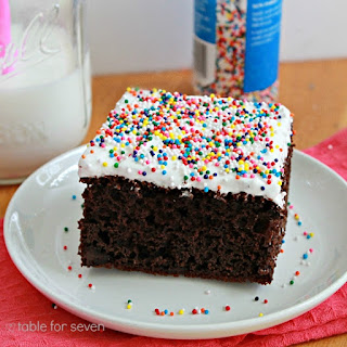 Chocolate Pudding Cake with Fluffy White Frosting