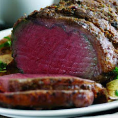Roast Sirloin Of Beef With Chestnut And Chive Butter