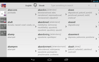 Screenshot of Free Dict Slovak English