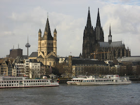 Cologne waterfront, view from Deutzer Br�cke