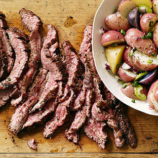 Sliced Steak with German Potato Salad