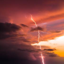 Haleiwa Uila by Mike Davis - Landscapes Weather ( clouds, mikedmedia.com, lightning, haleiwa, sky, sunset, north shore, mike davis, hawaii, oahu )