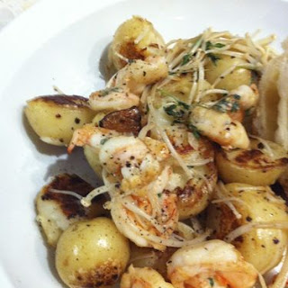 Sauteed Prawns, Potatoes and Enoki Mushrooms