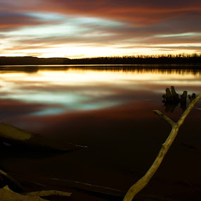 Graner Sunset by Dustin White - Novices Only Landscapes ( water, nature, logs, sunset, lake,  )
