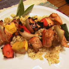 Grilled Chicken and Veggie Kabobs Atop Sage Rice
