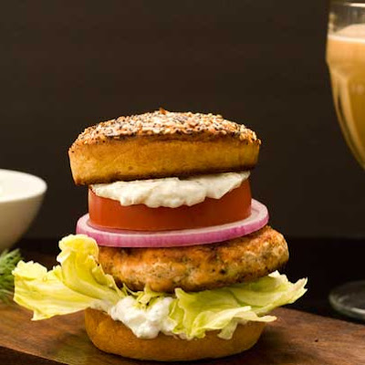 Gluten Free Bagel with Lox Burger