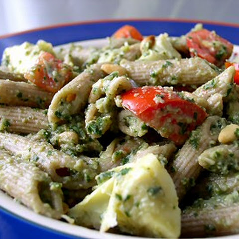 Spinach-Artichoke Pesto Pasta With Tomatoes & Sweet Peas Recipes ...