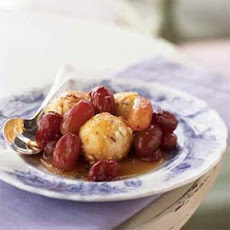 Hazelnut-Coated Ricotta Balls with Roasted Grapes