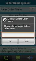 Screenshot of Caller Name Speaker :Announcer