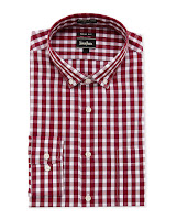 Neiman Marcus Trim-Fit Dress Shirt, Red Check - (15 32/33)