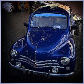 La 4 CV bleue by Phot ' O 3 P - Transportation Automobiles ( voitures, bleue, 4cv, voituresvoitures anciennes,  )