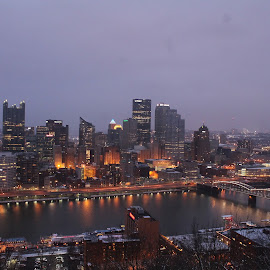 Pittsburgh Pennsylvania by Tina Marie - City,  Street & Park  Skylines ( water, pittsburgh pennsylvania, skyline, skyscraper, pittsburgh, buildings, nightime, city lights, night, river )