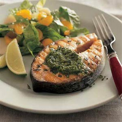 Spicy Herb-Grilled Salmon Steaks