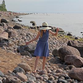 Walking along the seashore. by Gi Polis - Landscapes Beaches ( gulf of riga, baltic sea, latvia )