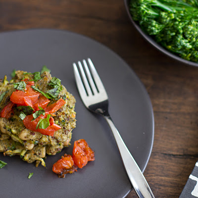 Pesto Quinoa & White Bean Cakes with Roasted Tomatoes