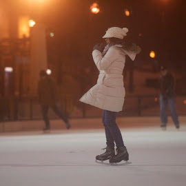 love skate by Delei Zheng - Sports & Fitness Fitness ( girl, ice, white, night, light )
