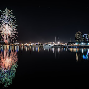 Fireworks @ Docklands by Zubair Aslam - City,  Street & Park  Night ( reflection, reflections, fireworks, night, docklands, , city at night, street at night, park at night, nightlife, night life, nighttime in the city )