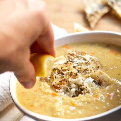 Creamy Red Lentil Soup with Cheesy Pita Croutons