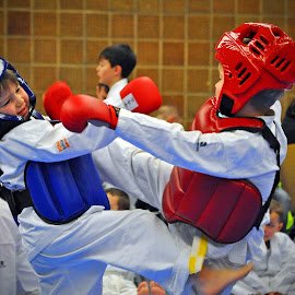 Karate Fight by Marco Bertamé - Sports & Fitness Other Sports ( protection, red, fight, blue, kumite, white, combat, helmet, karate,  )