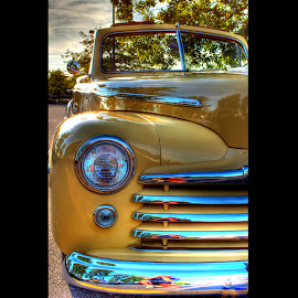 Yellow Is The Colour by Ernie Kasper - Transportation Automobiles ( lights, car, grill, convertable, chrome, yellow, classic )