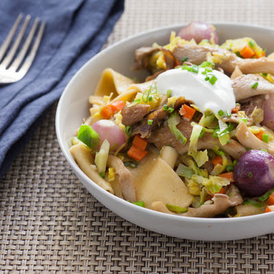 Mushroom Stroganoff with Brussels Sprouts & Fresh Egg Pappardelle