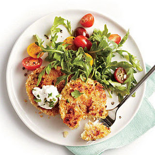 Crispy Cauliflower Cakes with Herb Sauce and Arugula Salad