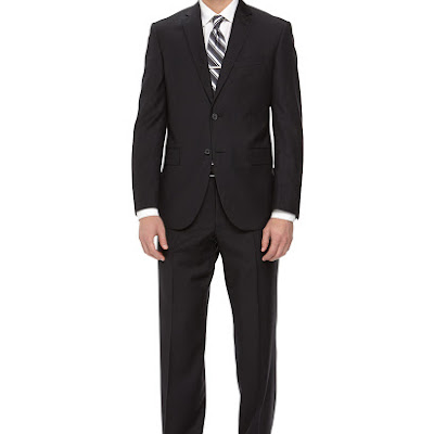 Neiman Marcus Two-Piece Striped Wool Suit, Black - (46L)