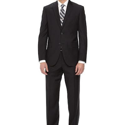 Neiman Marcus Two-Piece Striped Wool Suit, Black - (46L)