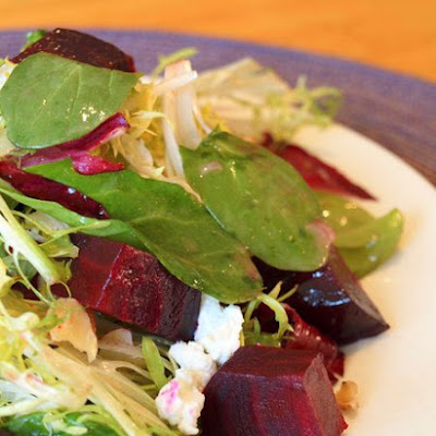 Roasted Beet Salad with Walnuts, Goat Cheese & Honey-Dijon Vinaigrette