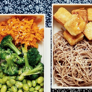 Stir-fried Tofu Bento Box with Sesame Soba Noodles and Ginger-Carrot Broccoli