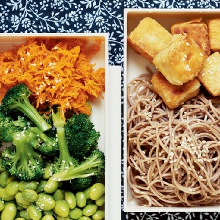 Stir-fried Tofu Bento Box with Sesame Soba Noodles and Ginger-Carrot ...