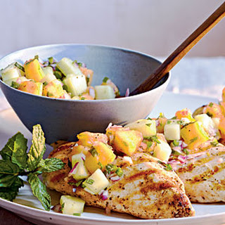 Grilled Chicken with Cucumber-Melon Salsa
