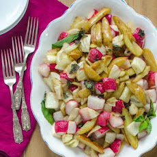 Roasted Potatoes, Fennel & Radishes with Lemon Brown Butter Sauce