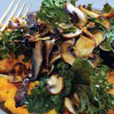 Roast Mushrooms and Kale over Mashed Sweet Potatoes