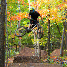 Fatty Whip by Riley Seebeck - Sports & Fitness Cycling ( shredding, jumps, mountain biking, nature, cycling, forest, dirt, whip, woods, braaaap, bicycle )