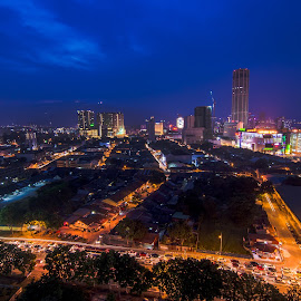 Blue Hour of Penang Island by Chin Fei Ng - City,  Street & Park  Night ( blue hour; streets; cars; tower; city )