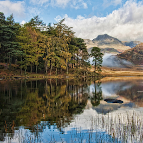 Blea Tarn by Steve BB - Landscapes Waterscapes ( langdales, uk, mountain, cumbria, reflections, lake, landscape, lake district, blea tarn, vista, trees, fog clouds, mist )