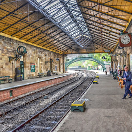 Pickering Railway Station by Mick Tate - Buildings & Architecture Other Exteriors ( railway, station, whitby, tracks, painting )