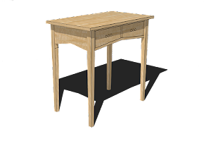 3D Drawing of Dressing Table in Ash with a Burr Ash Clustered Top and Ebonised Inlay