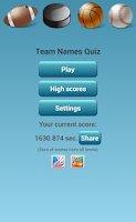 Screenshot of NBA NFL NHL MLB Team Name Quiz