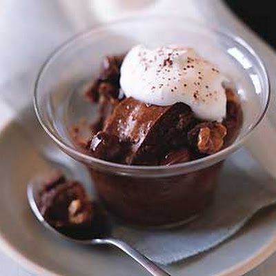 Chocolate Bread Pudding with Walnuts and Chocolate Chips