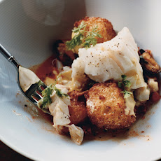 Cod with Mussels, Chorizo, Fried Croutons, and Saffron Mayonnaise