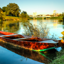 Wooden boat by Oliver Švob - Transportation Boats ( karlovac, kupa, croatia, town, boat, fishing boat, wooden boat, river, city )