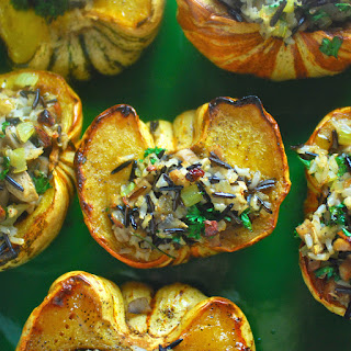 Stuffed Sweet Dumpling Squash with Mushrooms, Wild Rice and Apple Sausage