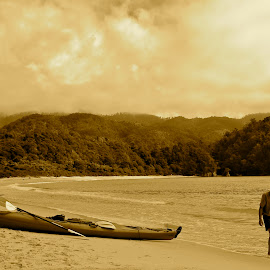 Roaming the Abel by Rob Hudson - Landscapes Beaches ( clouds, sand, hills, walking, sepia, black and white, sea, travel, beach, boat, kayak, landscape, new zealand, cloud formations, beaches, traveling, travelling, landscape photography, trees, landscapes, travel photography, man, travel locations )